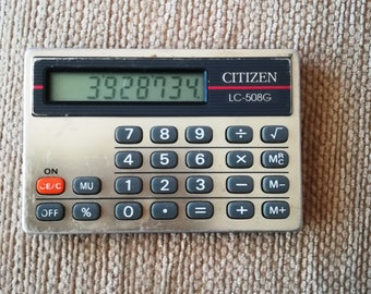 Vintage Citizen LC-508G calculator, Pocket calculator, LCD Display, Portable calculator, Collectible calculator, Made in Malaysia
