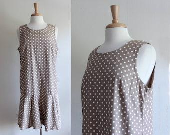 Vintage Beige Polka Dot Drop Waist Dress