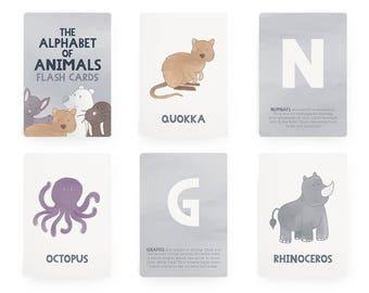 A-Z Animal Alphabet Flash Cards, Alphabet Wall Cards, Animal Nursery Wall Art, ABC Cards, Educational Cards