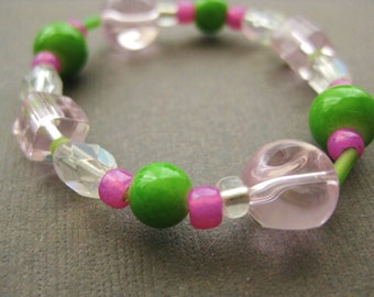 Small Pink and Green Girls Stretch Bracelet, GB 170