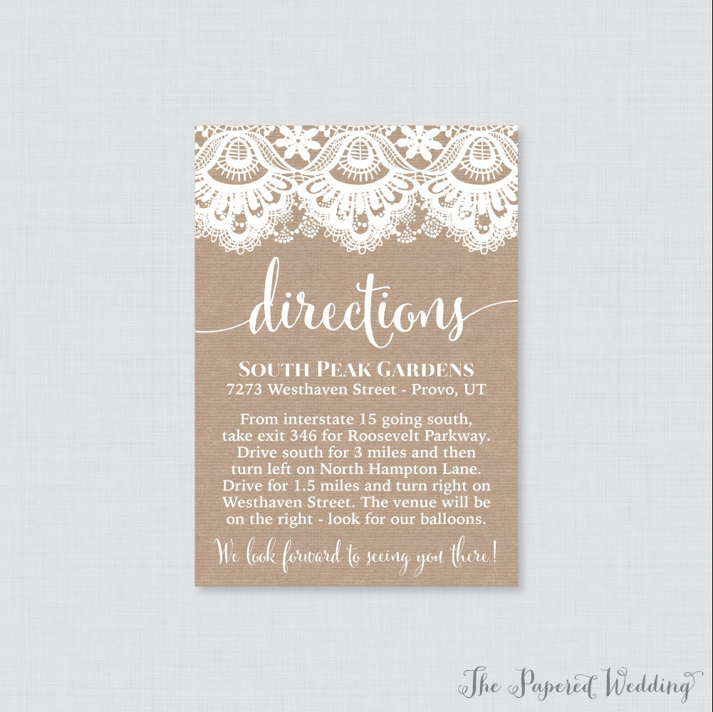 Printable or printed wedding direction cards burlap and lace zoom monicamarmolfo Images