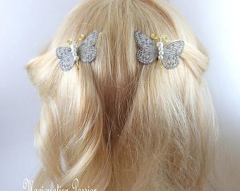 Butterfly clips anti-slip white body silk beads and golden metal antennas, Ombre, spring - Apolline - made in France