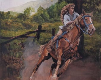 """Girl and Her Horse - 20"""" x 16"""" Original Painting on Canvas"""