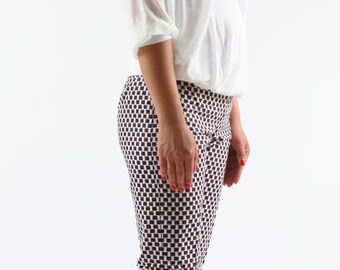 pants in wax, cotton fabric