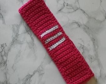 9/12 month baby headband, handmade crochet pink and white wool