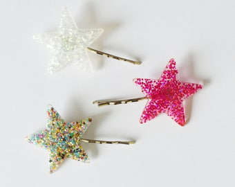 Set of 3 Colorful Sparkly Glitter Star Bobby Hair Pin Set - Hair Pins - Hair Accessories - Colorful Hair Clips - Girl Hair Pin