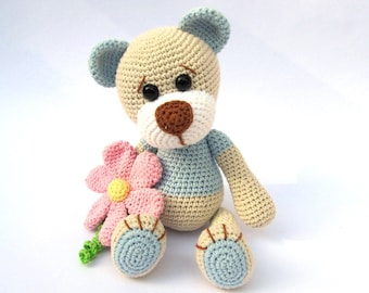 Teddy with Flower- Amigurumi Crochet Pattern / PDF e-Book / Stuffed Animal Tutorial