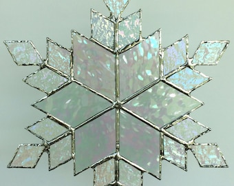 stained glass snowflake suncatcher  (design 12)