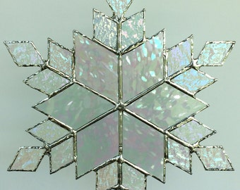 stained glass snowflake suncatcher  (design 12)