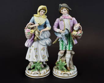 German Mid 20th Century Pair of Hand Painted Porcelain Figures ' Male and Female '