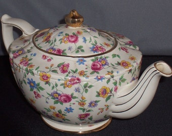 James Sadler Shabby Wildflower Tea Pot. Chintz Tea Pot, Transfer ware, Footed Tea Pot. Free Shipping