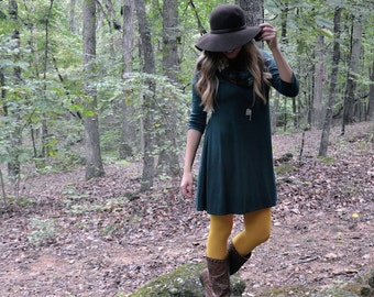 Jersey Knit Dress, Tunic in FOREST