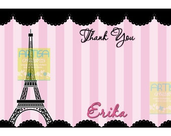 Paris Thank You Card, Eiffel Tower Thank You Cards, Oh La La Thank You Card, Paris Birthday Thank You Card, Paris Thank you note, Paris Card
