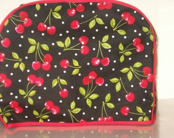 Toaster Cover, 2 slice, black/red Cherries