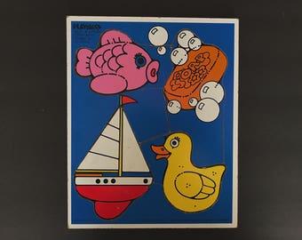 Vintage Playskool, Playskool Puzzle, Bath Time, Vintage Puzzle, Vintage Children's Puzzles, Wood Puzzle, Tray Puzzle, Retro Kid's Toys, 1982