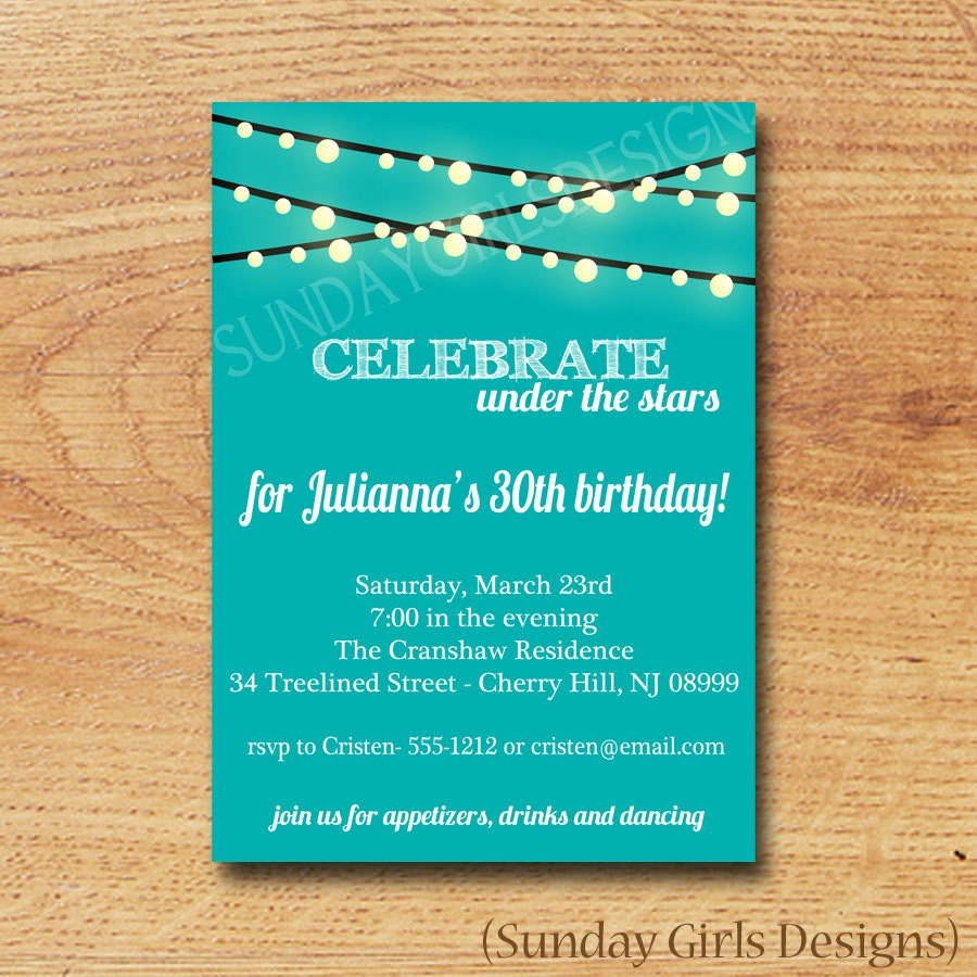 Birthday party invitation digital custom card under the stars zoom monicamarmolfo Image collections