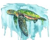 Watercolor Painting, Sea ...