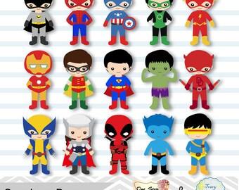 30 Little Boy Superheros Digital Clip Art, Boys Superhero Clipart,  Superhero Party, Super Hero Clip Art, Super Hero Boys Clipart, 0265