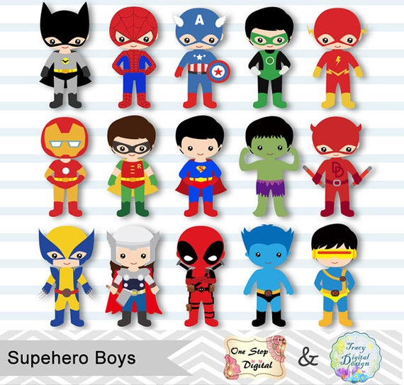 Superhero Art For Little Boys: 30 Little Boy Superheros Digital Clip Art Boys Superhero