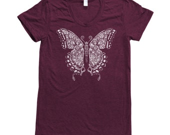 BUTTERFLY Insect Shirt Women Screen Print Tri-Blend Short Sleeve Tshirt Available: S, M, L, XL