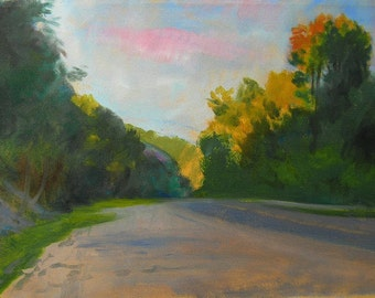 Landscape of Country Road, Late Afternoon Landscape, Plein Air View of Road