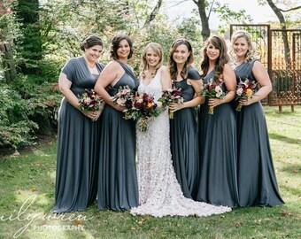 Glacier Dark Charcoal Grey- Long Maxi Octopus Convertible Infinity Prom Wrap Dress~ Bohemian Bridal, Beach Wedding, Bridesmaids, Maternity