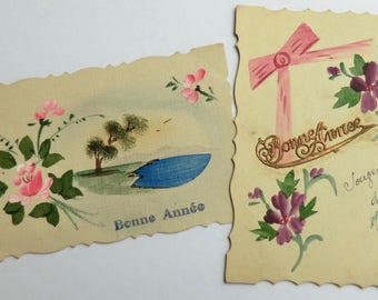 2 Antique French Hand Painted Postcards One Dated 1918 Bonne Annee