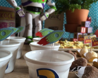 12 Little spoon or Cupcake Topper Spaceship, Rocket, Toy Story Party