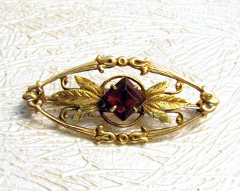 10K Gold Art Nouveau Brooch, Purple Stone, Victorian Revival, Arts and Crafts. Leaves and Scrolls