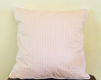 Pink & White Striped Cushion with Personalized Embroidery
