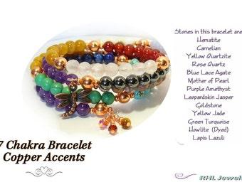 7 Chakra Bracelet, Multi Gemstone Bracelet, Copper Dragonfly Outlander Charm, No Clasp Bracelet