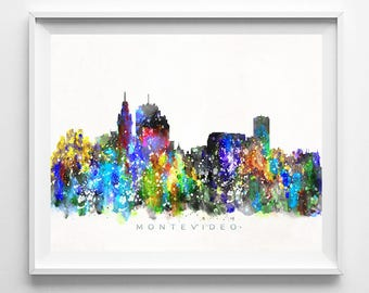 Montevideo Skyline Print, Uruguay Watercolor Painting, Cityscape, City Poster, Living Room Decor, Wall Art, Home Decor, Fathers Day Gift