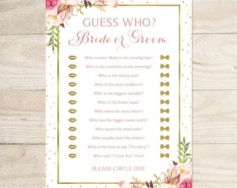 Bridal Shower Game | Guess Who ? | 5 x 7 Game Cards | Romantic Blooms with Gold Foil Accents | PDF and JPG Files | Instant Download