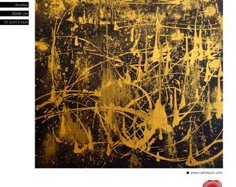 Balck Gold Abstract Art, Free Shipping, Acrylic Painting, Original Painting, Carlos Pun Art