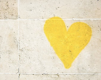 "Paris Photography, ""Graffiti Heart"" Paris Print, Large Art Print Fine Art Photography, Yellow Wall Art, Girlfriend Gift for Her, Romantic"