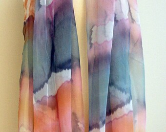 Hand painted silk chiffon scarf.Silk scarves. Silk pink-grey-tan-white. Handpainted silk shawl.Wedding gift. 72x37Inches (200x94cm)