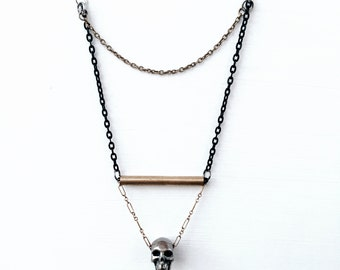 Skull Pendant Layering Necklace // Metal Jewelry // Chain Necklace // Geometric Design // One of a Kind // Multi-strand Necklace // Gothic