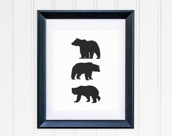 Bear Printable Black Bear Wall Art Woodland Nursery Decor Nursery Lodge Decor Adventure Nursery Wall Art Woodland Animal Print Boy Nursery