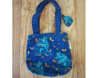 Small Vintage Laurel Burch Blue Cats Purse
