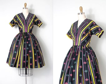 vintage 1950s dress | 50s striped cotton dress | Anne Fogarty (extra small xs)