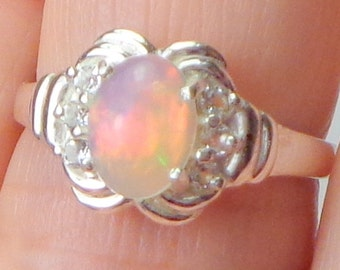 Sz 7, Welo Opal Ring, White Topaz, Sterling Silver Ring,Natural Gem Ring,Etiopian Opal,Mystical  Gem Ring,Lavender Peach Teal,Fine Jewelry