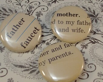 3 Vintage Dictionary Word Buttons