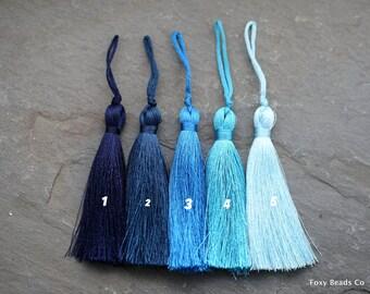 Silk Tassels, Pick Your Color, Blue Tassels, Long Silk Tassel, Blue Tassel, Mala Supplies, Large Tassel, Mala Beads Tassel, Tassel Necklace