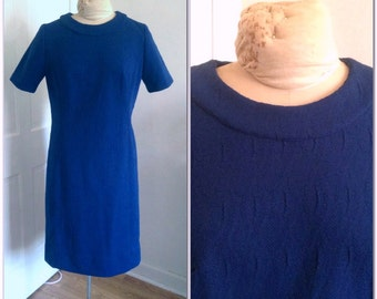 Sixties blue shift dress, vintage blue dress, Sixties scooter dress, vintage size large, dress size 10, size 12, vintage shift dress