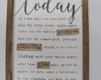 """Today Is A New Day,Rustic Shadowbox Frame,Inspirational Verse,Marla Rae,13"""" x 17"""""""