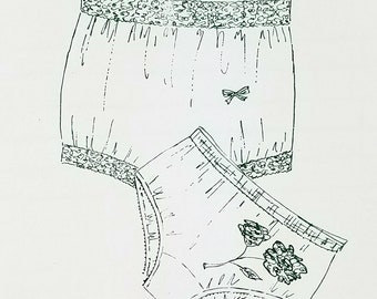 Vintage Panties Pattern Hip Hugger High Waist Bikini Brief Underwear Size 4 5 6 7 8 8 Lingerie