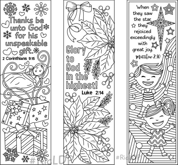 9 Printable Christmas Coloring Bookmarks (6 Designs With Bible Verses And 3  Designs Without Texts)  Christmas Bookmark Templates