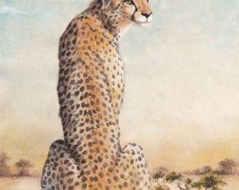 Watercolour Cheetah Art Print- Wall Art -Wildlife print- Animal Art - Illustration