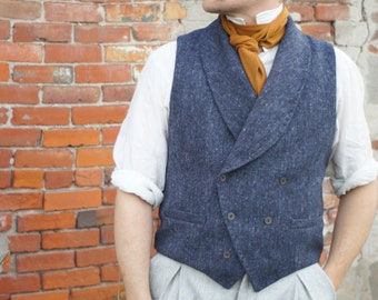 Tweed Double-Breasted Vests----With Shawl Collars