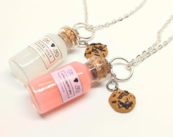 milk' / strawberry milk'n cookie necklaces (friendship necklaces)